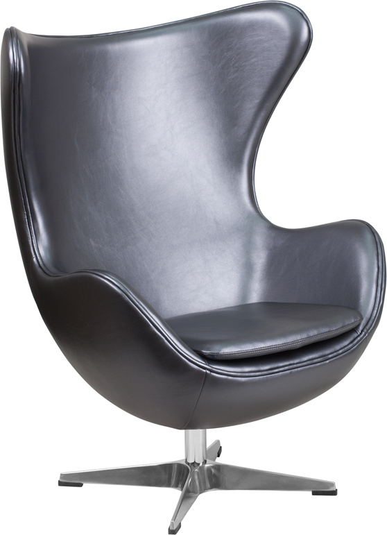 Gray Leather Egg Chair With Tilt Lock Mechanism