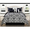 Concord Medallion 7pc King Comforter Set, Black/White