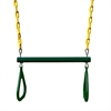 "17"" Trapeze Bar w/Rings - Green w/ Yellow Chains"