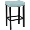 "Tudor 30"" Stool Sky Blue Bonded Leather with Chrome Nails"