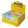 "Adhesive Note - Self-adhesive, Repositionable - 3"" x 3"" - Assorted Pastel - Paper - 24 / Display Box"