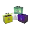 "Pendaflex Economy File Box with Handle - External Dimensions: 13.5"" Width x 10.3"" Depth x 10.9"" Height - Plastic - Clear, Yellow, Green, Blue - Document - 1 / Each"