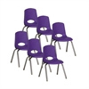"ECR4Kids 14"" Stack Chair - Chrome Legs - PUG, set of 6"