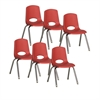 "ECR4Kids 14"" Stack Chair - Chrome Legs - RDG, set of 6"