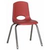 """ECR4Kids 16"""" Stack Chair - Chrome Legs - RDG, set of 6"""
