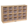 ECR4Kids Birch 20 Cubby Tray Cabinet w/ Clear Bins