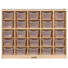 ECR4Kids Birch 25 Cubby Tray Cabinet w/ Clear Bins