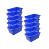ECR4Kids Scoop Front Storage Bins - Blue, set of 10