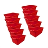 ECR4Kids Scoop Front Storage Bins - Red, set of 10