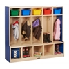 CE 5-Section Coat Locker with Bench - Blue