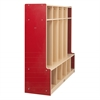 ECR4Kids CE 5-Section Coat Locker with Bench - Red