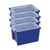 ECR4Kids Large Storage Bins with Lid - Blue, set of 4
