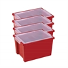Large Storage Bins with Lid - Red, set of 4