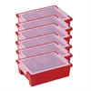 Small Storage Bins with Lid - Red, set of 6