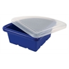 ECR4Kids Quarter Circle Tray with Lid - Blue, set of 4