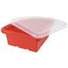 ECR4Kids Quarter Circle Tray with Lid - Red, set of 4