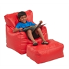 Bean Bag Chair and Ottoman Set - Red