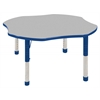 "48"" Clover T-Mold Activity Table, Grey/Blue/Chunky"