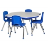 "ECR4Kids 48"" Clover Table Grey/Blue-Standard Ball"