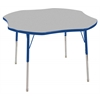 "48"" Clover T-Mold Activity Table, Grey/Blue/Standard Swivel"