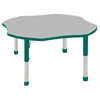 "48"" Clover T-Mold Activity Table, Grey/Green/Chunky"