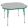 "48"" Clover T-Mold Activity Table, Grey/Green/Standard Ball"