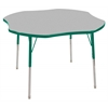 "48"" Clover T-Mold Activity Table, Grey/Green/Standard Swivel"