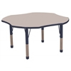 "48"" Clover T-Mold Activity Table, Grey/Navy/Chunky"
