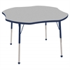 "48"" Clover T-Mold Activity Table, Grey/Navy/Standard Ball"