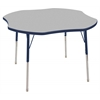 "48"" Clover T-Mold Activity Table, Grey/Navy/Toddler Swivel"