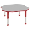 "48"" Clover T-Mold Activity Table, Grey/Red/Chunky"