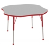 "48"" Clover T-Mold Activity Table, Grey/Red/Standard Ball"
