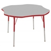 "48"" Clover T-Mold Activity Table, Grey/Red/Standard Swivel"