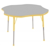 "48"" Clover T-Mold Activity Table, Grey/Yellow/Standard Ball"