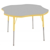 "48"" Clover T-Mold Activity Table, Grey/Yellow/Standard Swivel"