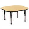 "48"" Clover T-Mold Activity Table, Maple/Black/Chunky"