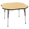 "48"" Clover T-Mold Activity Table, Maple/Black/Standard Ball"