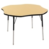 "48"" Clover T-Mold Activity Table, Maple/Black/Standard Swivel"