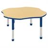 """48"""" Clover T-Mold Activity Table, Maple/Blue/Chunky"""