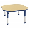 "ECR4Kids 48"" Clover Table Maple/Blue -Chunky"