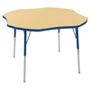 "48"" Clover T-Mold Activity Table, Maple/Blue/Standard Swivel"