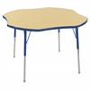 "ECR4Kids 48"" Clover Table Maple/Blue -Standard Swivel"
