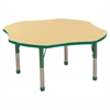 "48"" Clover T-Mold Activity Table, Maple/Green/Chunky"