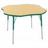 "48"" Clover T-Mold Activity Table, Maple/Green/Standard Swivel"