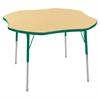 "48"" Clover T-Mold Activity Table, Maple/Green/Standard Swivel"