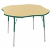 "ECR4Kids 48"" Clover Table Maple/Green-Standard Swivel"