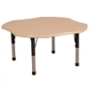"48"" Clover T-Mold Activity Table, Maple/Maple/Black/Chunky"