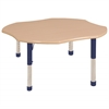 "48"" Clover T-Mold Activity Table, Maple/Maple/Blue/Chunky"