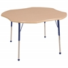 "48"" Clover T-Mold Activity Table, Maple/Maple/Blue/Standard Ball"