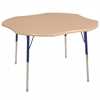 "48"" Clover T-Mold Activity Table, Maple/Maple/Blue/Standard Swivel"